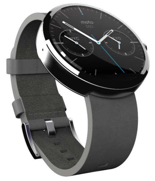 La Moto 360 se différencie des premières générations de montres connectées par son cadran tout rond, comme une vraie montre