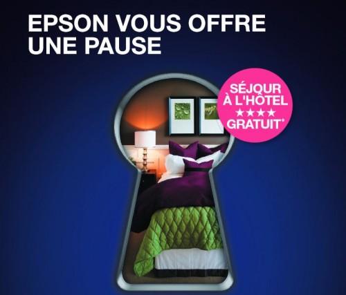 Une nuit d'hôtel pour deux personnes offerte avec l'achat d'une imprimante Epson