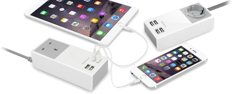 2 prises USB 1A pour les Smartphones et 2 prises USB 2.4A pour les tablettes