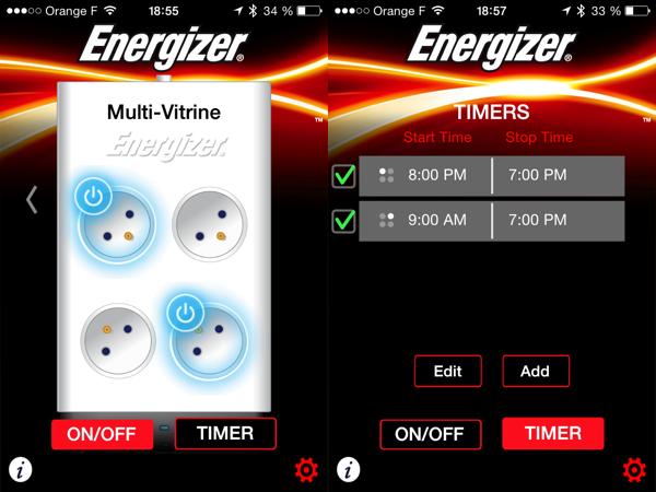 L'app sur Smartphone permet, via Bluetooth, de commander les prises ou de programmer des plages de marche/arrêt