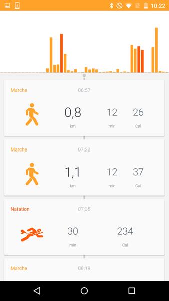 L'app HealthMate pour iOS ou Android permet de suivre vos activités nautiques (durée et calories consommées)