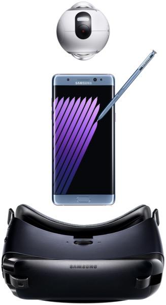 Le Galaxy Note 7 vient compléter le Smartphone S7, la montre Gear S2, le bracelet Gear Fit 2, le casque intra-auriculaire Gear IconX, le casque de réalité virtuelle Gear VR et la caméra Gear 360