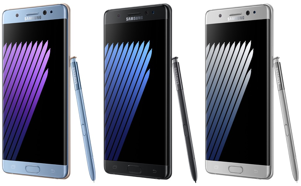 Le Galaxy Note 7 est proposé en 3 couleurs, bleu acier, noir ou argent